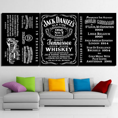 Jack Daniel\'s Tennessee WHISKEY 3 Panel Wall Art - Printed on canvas ...