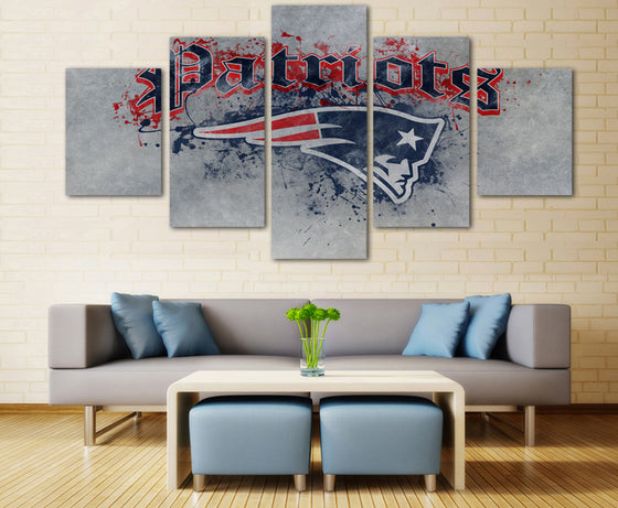 Wall Art on Canvas New England Patriots Fan Print - 5 piece - ASH Wall Decor - Wall Art Picture Painting Canvas Living Room