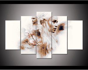 5 Panel Game of Thrones Daenerys Targaryen Wall Art Canvas Panel Print : cheap canvas prints wall paintings pictures