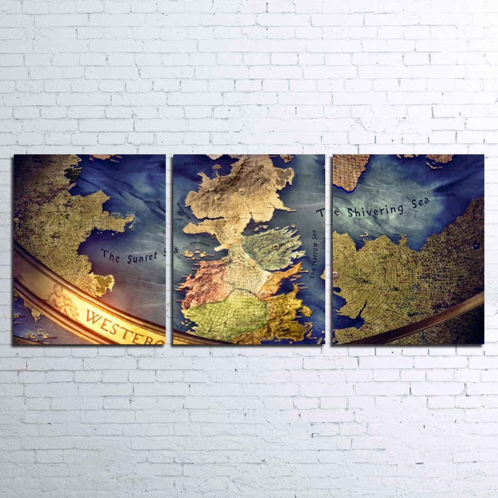 Game Of Thrones Map Westeros Wall Art Picture Canvas Print Framed ...