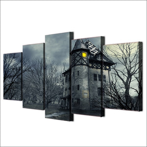 5 piece Canvas Wall Art Halloween Spooky Grey Castle Painting Wall Decoration - ASH Wall Decor - Wall Art Canvas Panel Print Painting