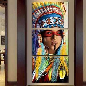 3 Panel Native American Indian Girl Feathered Feathers Canvas Wall Art Print : cheap canvas prints wall paintings pictures
