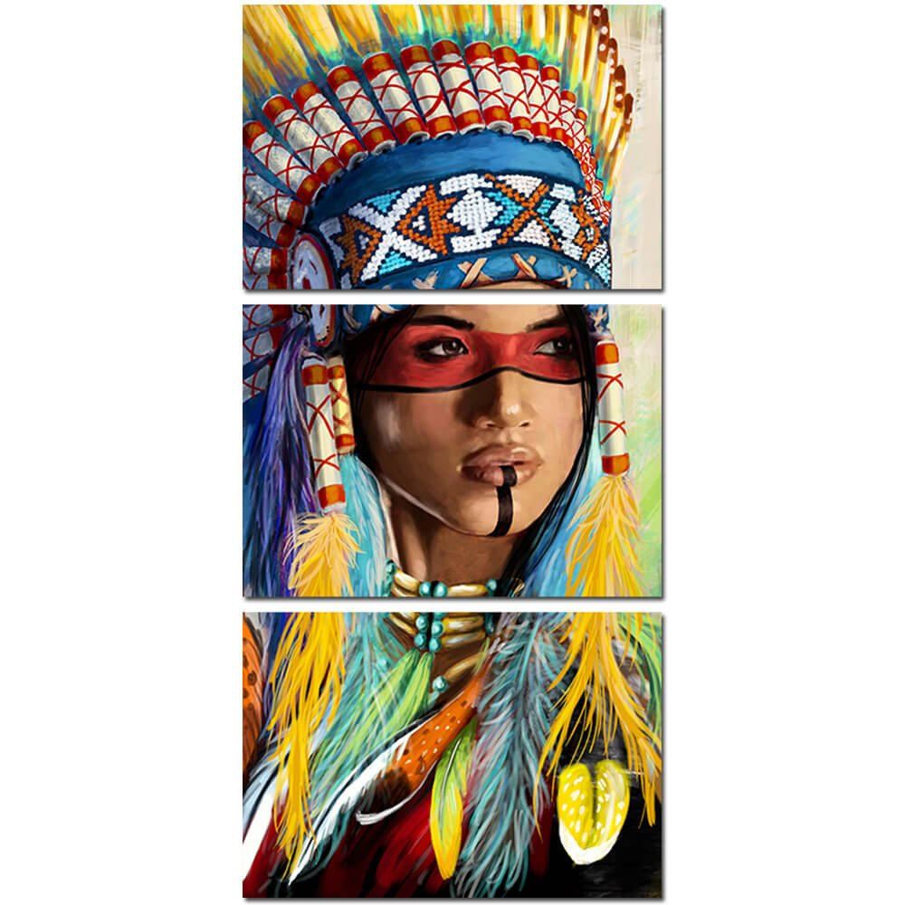 cbb90f9f2dd 3 Panel Native American Indian Girl Feathered Feathers Canvas Wall Art Print    cheap canvas prints