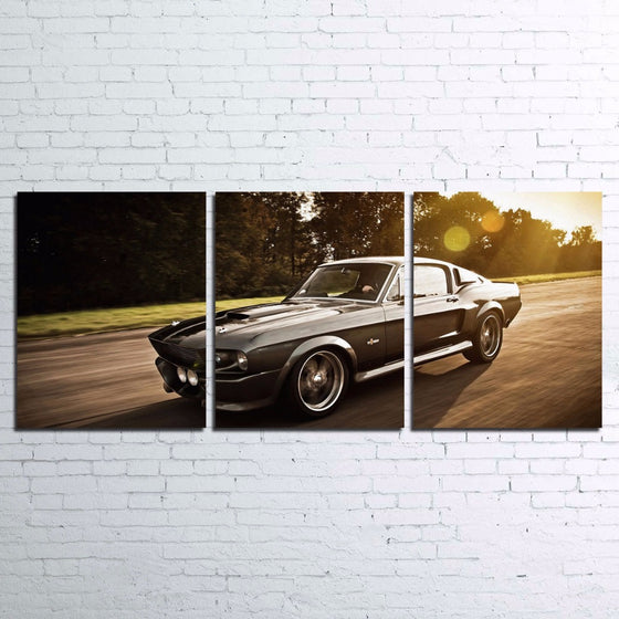 1965 1966 Ford Mustang Fastback 3 Panel Canvas Print Poster