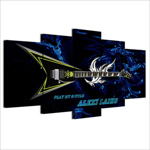 5 panel piece canvas art guitar print Alexi Laiho Children of Bodom wall print : cheap canvas prints wall paintings pictures
