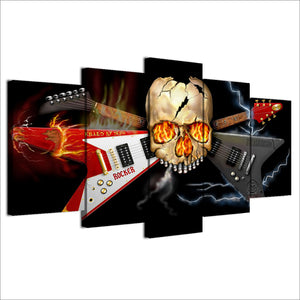 SKULL with fire and cross guitar - 5 piece panel wall print picture on canvas : cheap canvas prints wall paintings pictures