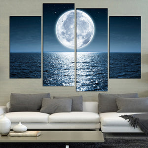 4 Panel Bright Moon Shining On The Ocean Wall Art Canvas Picture For Living Room : cheap canvas prints wall paintings pictures