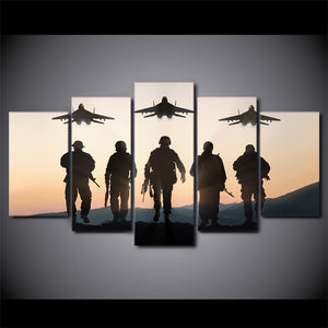 5 piece panel wall art Sunset American soldiers planes - ASH Wall Decor - Wall Art Canvas Panel Print Painting