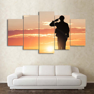 "5 piece canvas art - Sunset military soldier silhouette at sunset -optional 80"" - ASH Wall Decor - Wall Art Canvas Panel Print Painting"
