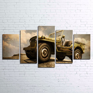 US ARMY 209 Military Classic Jeep Car Wall Art Print Canvas Framed UNframed - ASH Wall Decor - Wall Art Canvas Panel Print Painting