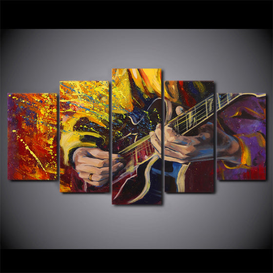 Abstract art guitarist  play guitar 5 panel wall art on canvas - ASH Wall Decor - Wall Art Picture Painting Canvas Living Room