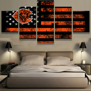 Chicago Bears Football Flag Orange Black Wall Art on Canvas Panel Print Picture : cheap canvas prints wall paintings pictures