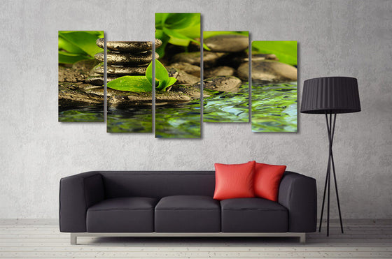 5 piece green water stream stone canvas wall art green - ASH Wall Decor - Wall Art Picture Painting Canvas Living Room