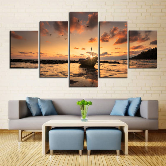 Ocean Sea Surf at Sunrise Sunset on Beach Wall Art 5 Panel Picture Print - ASH Wall Decor - Wall Art Canvas Panel Print Painting
