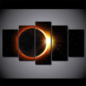 5 Panel Canvas Art Total Eclipse HD Print Universe : cheap canvas prints wall paintings pictures