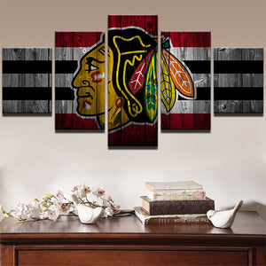5 Panel Ice Hockey Sports Chicago Blackhawk Wall Art Canvas : cheap canvas prints wall paintings pictures