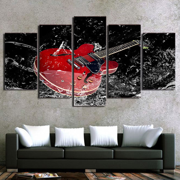 5 piece canvas wall art red guitar splash print wall picture for living room - ASH Wall Decor - Wall Art Picture Painting Canvas Living Room