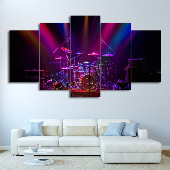 5 Piece Canvas Art Music Drum Print Purple Concert Wall Picture for Living Room - ASH Wall Decor - Wall Art Picture Painting Canvas Living Room