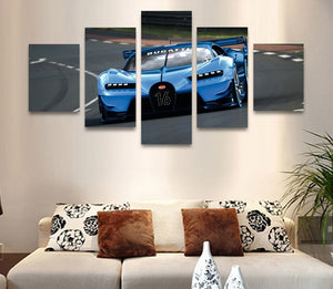 5 Pieces Bugatti Exotic Supercar Sports Car  kids, boys, office, garage canvas p