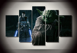 HD Printed Star Wars Movie Yoda 5 panel pieces pcs picture wall art picture : cheap canvas prints wall paintings pictures