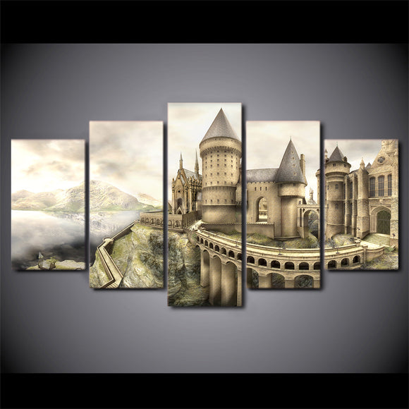 5 Piece Panel Harry Potter Hogwarts Castle Print Drawing Sketch Style Framed UNf