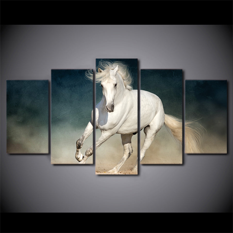 5 Panel Canvas Panel Wall Art Picture White Running Horse Wall Art Decor  Print   ASH