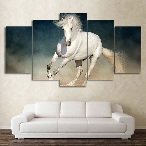 5 Panel Canvas Art White Running Horse Wall Art Decor Print - ASH Wall Decor - Wall Art Picture Painting Canvas Living Room