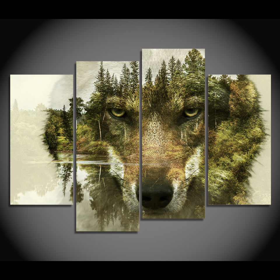 hd printed 4 panel canvas art abstract animal wolf woods print