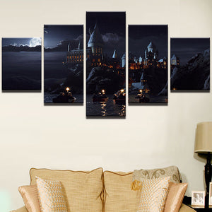 Harry Potter School Castle Hogwarts 5 Panel Canvas Wall Art Picture Print : cheap canvas prints wall paintings pictures