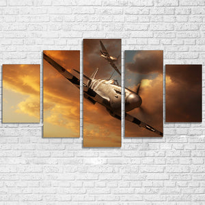 5 Panel Military Airplane Print Aircraft Landscape Panel Wall Art Canvas Print : cheap canvas prints wall paintings pictures