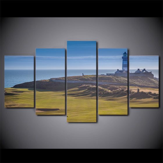 5 Panel Canvas Art Golf Course Print Sports Hills Wall Lighthouse - ASH Wall Decor - Wall Art Picture Painting Canvas Living Room