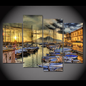 Naples Italy Wharf Boats Home Wall Decor Wall Art Panel Print Picture Framed UNF - ASH Wall Decor - Wall Art Canvas Panel Print Painting