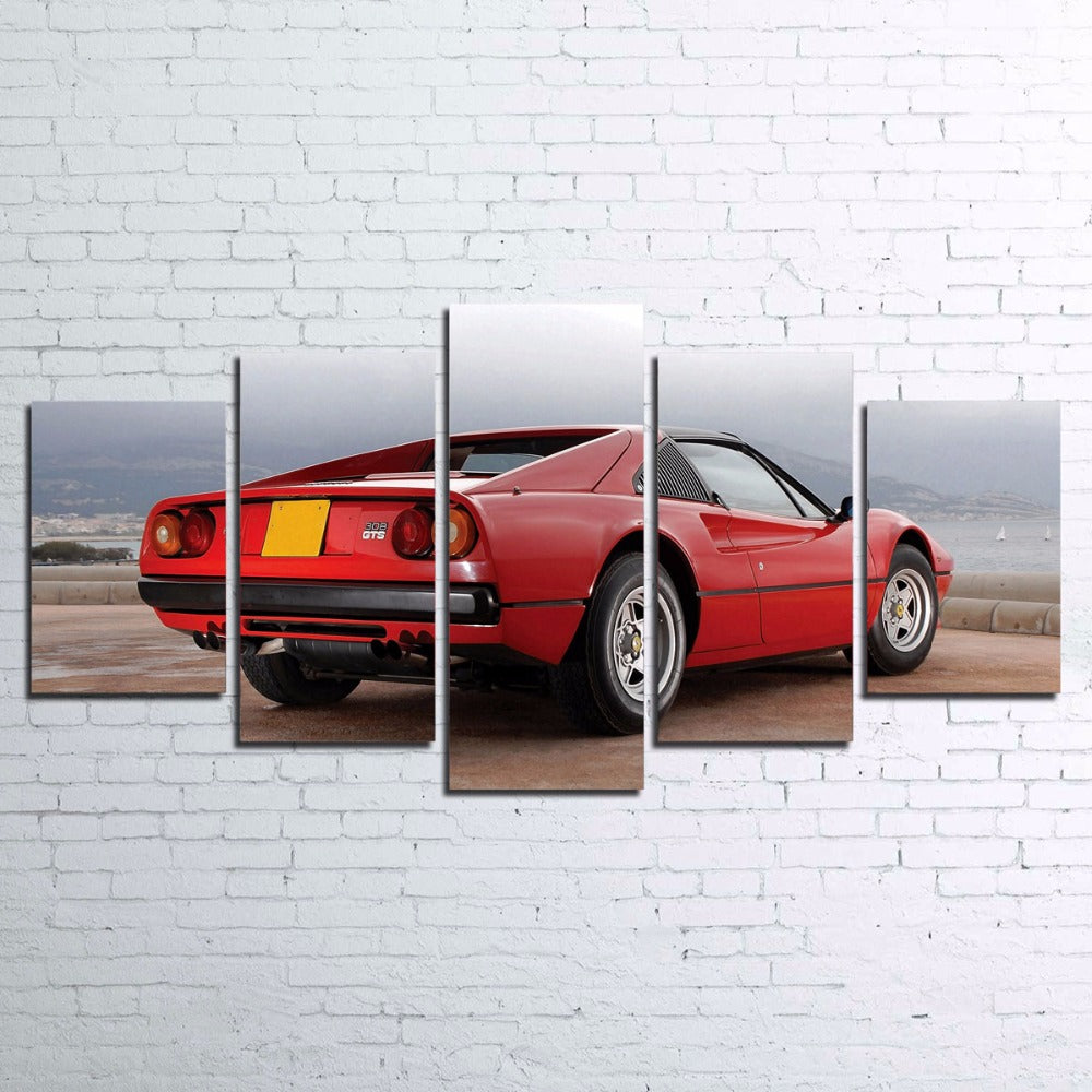 Red Ferrari Sports Car Classic Exotic Wall Art On Canvas