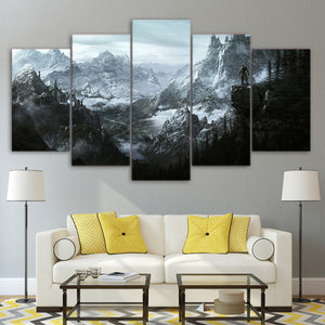 The Elder Scrolls V Skyrim 5 panel wall art on canvas  for living room : cheap canvas prints wall paintings pictures