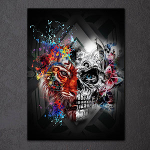1 Piece Canvas Print Wall Art Cartoon Skull Tiger Abstract Wall Picture : cheap canvas prints wall paintings pictures