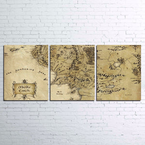 3 Panel World Map The Lord Of The Rings Map Print Canvas Wall Art Poster : cheap canvas prints wall paintings pictures