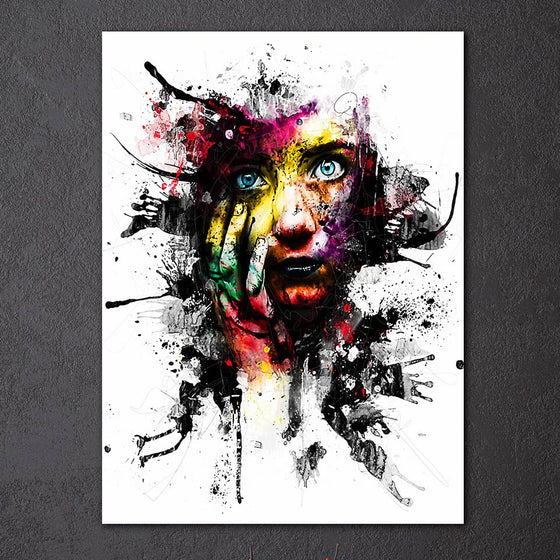 1 Piece Panel Art on Canvas  Abstract Woman Face Splash Print - ASH Wall Decor - Wall Art Picture Painting Canvas Living Room