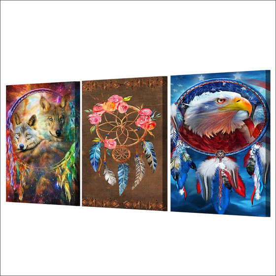 3 panel canvas art Dreamcatcher painting wolf eagle feathers Wall Art FRAMED UNframed