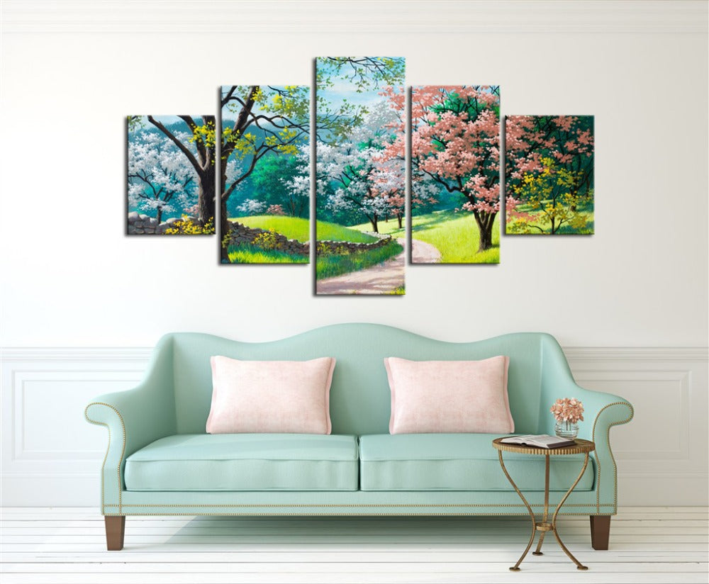 Sunny Spring Day Colorful Trees Wall Art Canvas Panel Print 5 Panel
