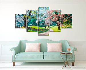 Sunny Spring Day Colorful Trees Wall Art Canvas Panel Print 5 Panel Pieces : cheap canvas prints wall paintings pictures