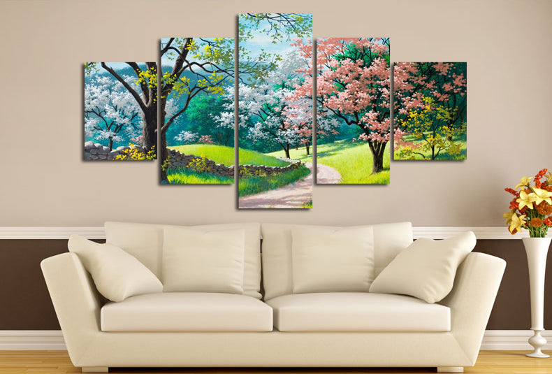 Sunny Spring Day Colorful Trees Wall Art Canvas Panel Print 5 Panel   ASH Wall  Decor