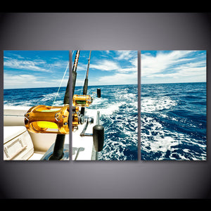3 Panel Wall Art Panel Picture Blue Sea Deep Sea Fishing Rod Boat Seascape Print : cheap canvas prints wall paintings pictures