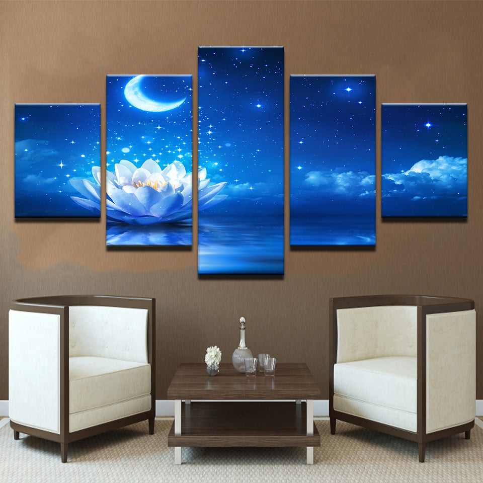 Lotus Moon Flower Stars Sky Panel Wall Home Decor Canvas Print