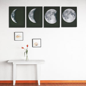The Moon Phases - Print on Canvas Wall Decor Poster Pictures Abstract 4 panel : cheap canvas prints wall paintings pictures