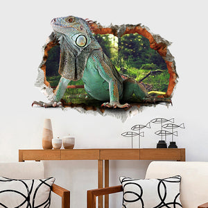 3D lizard reptile iguana animal wall sticker fake window decal for kids room : cheap canvas prints wall paintings pictures