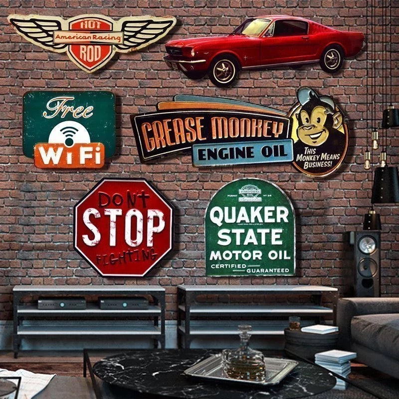 ... 3D Vintage Tin Metal Sign Bar Home Wall Decor Retro Metal Art Sticker  Poster   ASH ...