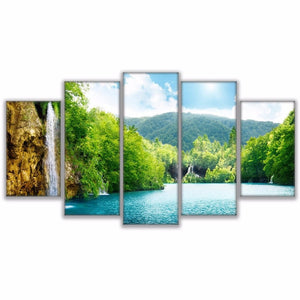 5 Pieces River Waterfall Mountain Nature Landscape Poster Home Decor : cheap canvas prints wall paintings pictures