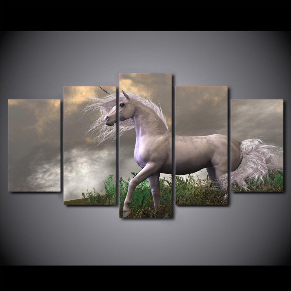 5 Panel Canvas Art White Horse in Field Wall Art Picture Print ...