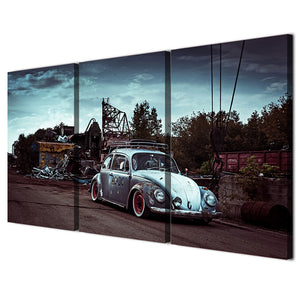 3 Pieces Wall Art Classic VW Beetle Bug Car Auto Canvas Panel Print Picture : cheap canvas prints wall paintings pictures
