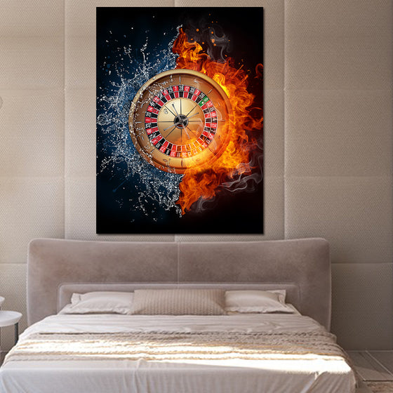 Single Panel Abstract Fantasy Roulette Wheel Wall Art Canvas Poster Fire Gamble
